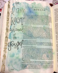 "Decided to keep it simple with a watercolor wash and some lettering. It's so easy to get caught up in wanting to make each page a masterpiece so for this page I just wanted to focus on the words that stuck out to me the most!  Romans 1:16 & 17 For I am not ashamed of the gospel for it is the power of God for salvation to everyone who believes... For in it the righteousness of God is revealed from faith for faith as it is written 'The righteous shall live by faith.' "" by nickicreates"