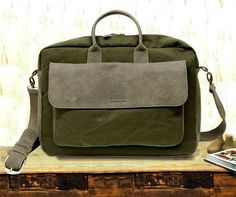 """Sale!!! Waxed Canvas Leather messenger bag """" Eugeene"""" Leather laptop bag 11""""- 13""""-15"""" Leather Mens Messenger Bags Canvas Briefcase by plgdesigns. Explore more products on http://plgdesigns.etsy.com"""