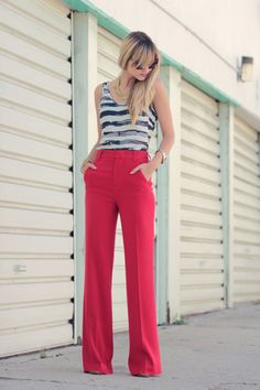 black and white stripes offset the bright red trousers