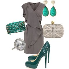 teal and gray - that dress is amazing!
