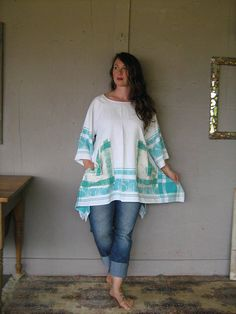63e5bc2e6d8c5 upcycled Lagenlook tunic dress recycled clothing Boho top Bohemian shirt  gypsy Wearable Art Unique reclaimed X Large 1 X LillieNoraDryGoods