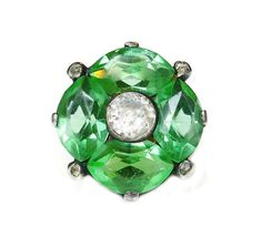Uncas Ring Sterling Silver Lead Crystal Green by zephyrvintage