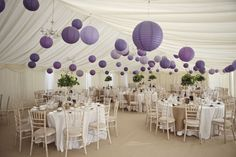 Wedding Marquee with purple lanterns...I'd maybe do all different bright colours
