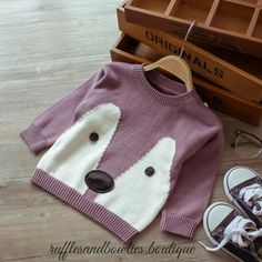 PRE ORDER - Baby Girl Fall Pastel Fox Sweater - Baby Fox Sweater - Baby Fox Shirt - Girls Fox Sweater - Gold Sweater - Plum Baby Sweater - Baby fall Clothes