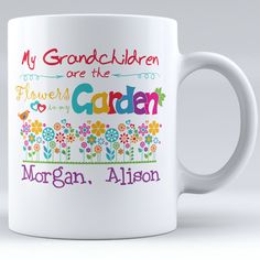 My Grandchildren Are The Flowers In My Garden Personalized with Grandkids' Names Ceramic Mug by ZweetyShop on Etsy
