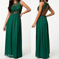 Lace Splicing Chiffon Long Sleeveless Backless Party Dress