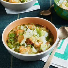 Zucchini & Fennel Soup with Garlic Croutons.
