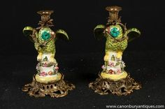 Pair French Porcelain Parrot Candle Holders Ormolu Candelabras