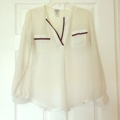 Sheer White Blouse White Blouse with Black Trimming Charming Charlie Tops Blouses