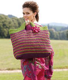 Free Crochet bag pattern - so it say's! Free Crochet Bag, Crochet Tote, Crochet Handbags, Crochet Purses, Love Crochet, Crochet Crafts, Crochet Projects, Knit Crochet, Crochet Baskets