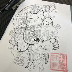 New ideas for cat tattoo desing drawings Japanese Drawing, Japanese Tattoo Art, Japanese Tattoo Designs, Tatto Cat, Lucky Cat Tattoo, Badass Tattoos, Dog Tattoos, Sleeve Tattoos, Maneki Neko