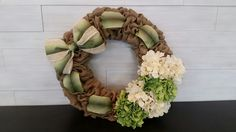 Custom Burlap Wreath with flowers and ribbon Grapevine Wreath, Burlap Wreath, Grape Vines, Ribbon, Bows, Wreaths, Flowers, Crafts, Decor