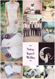 Vintage Inspired Wedding; Gatsby Wedding; 1920s Wedding; Paper Moon; Deco Wedding    (From Top Left: 1. Esme Gown by Jenny Packham 2. Michelle March Photography 3. Erin Stubblefield Weddings & Portraiture 4. Curling Violets Set by Pip's Paperie 5. HappyWedd.com 6. Paper Heart Photography 7. Stremel Photography 8. Clara Shoots Weddings 9. Kurt Boomer Photography)