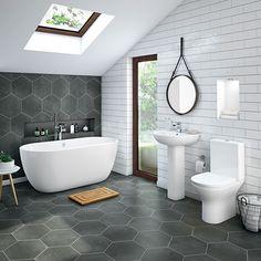 Mirage Contemporary Bathroom Suite With Freestanding Bath Bathroom Ideas Uk, Best Bathroom Tiles, Bathroom Trends, Bathroom Design Small, Bathroom Interior Design, Family Bathroom, Bathroom Organization, Master Bathroom, Small Bathrooms