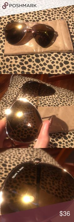 Quay shay oversized aviator sunnies I bought these for a trip only to discover they refuse to stay up on my Asian nose. They are a reposh. Super sad face.  They have some minor scratches which are pictured. They don't affect the wearability or vision at all. Comes with case. Quay Australia Accessories Sunglasses