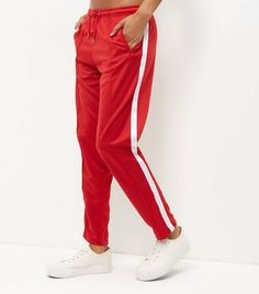 Red Stripe Side Joggers | New Look