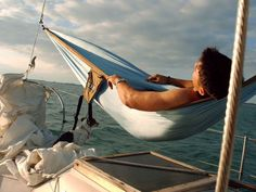 Hammock on sailboat with our dog! Cruise Italy, Cruise Europe, Sailing Gear, Sailing Cruises, Boat Hire, Boat Rental, 1000 Lifehacks, Family Boats, Sailboat Interior
