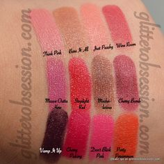 Wet n Wild Megalast lipstick swatches: Think Pink, Bare it All, Just Peachy, Wine Room, Mauve Outta Here, Stoplight Red, Mochalicious, Cherry Bomb, Vamp it Up, Cherry Picking, Don't Blink Pink, and Purty Persimmon