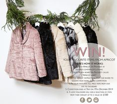 """WIN YOUR FAVOURITE ITEMS FROM APRICOT!  Create a board of your favourite items from Apricot on Pinterest and we'll give you the chance to win a selection!  1.Follow Apricot on Pinterest at pinterest.com/apricotclothing  2.Create a new board on Pinterest called """"Apricot loves"""" 3.Re-pin the wishlist instructions from our board to validate your entry to the competition  4.Pin your favourite products from our site to the board 5.Competition ends at 9am on 19th December 2014"""
