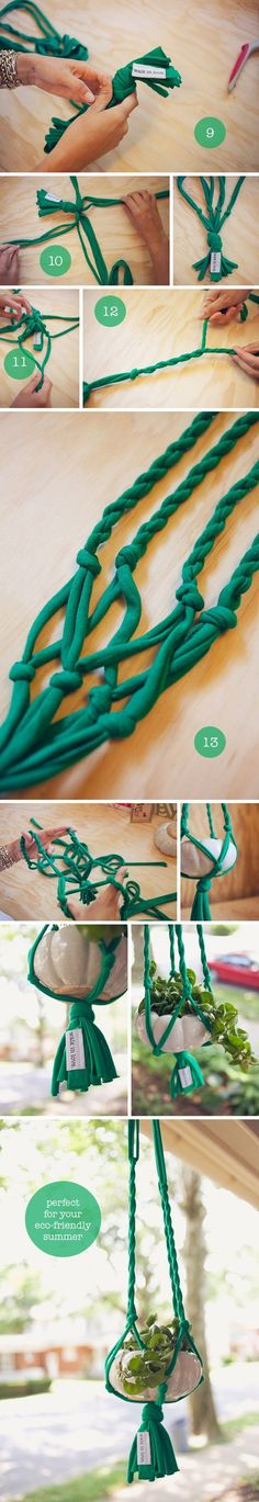 DIY: t-shirt plant hanger. Suspension pour pots en tshirt recyclé