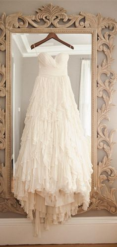 Vintage Layers A-line Sweetheart Chiffon Sweep Train Wedding Dress #wedding #lace #vintage
