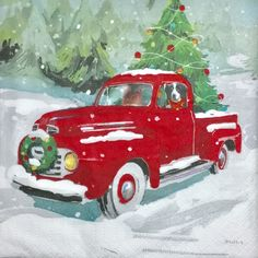 "Decoupage Holiday Napkins, Set of 3, Vintage Red Pickup Truck Dog Snow Christmas, 10"" x 10"" unfolded by PacificSunset on Etsy https://www.etsy.com/listing/487489553/decoupage-holiday-napkins-set-of-3"