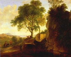 Herman van Swanevelt (1603/1604–1655)  Title Italian landscape.[1] Alternative title(s): Landscape with Tall Rocks.[2] Date1643 Mediumoil on canvas Dimensions56 × 69 cm (22 × 27.2 in) Current location (Inventory)Rijksmuseum Amsterdam Depot Accession numberSK-A-2497 Object historyMay 1910: purchased by the Rijksmuseum Amsterdam, Amsterdam