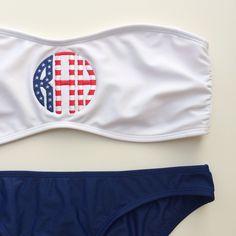 wesleynoelle:  rahrahdesigns:  RahRah Designs American flag monogram bandeau  LOOVVEE
