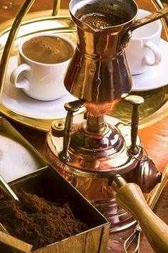 Preparing Greek coffee.