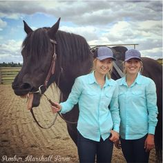 Amber Marshall (Amy) and her stunt double Lindy on set with Rowan, a Percheron cross mare who is the guest star on set this week. #Season9