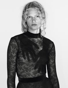 Balmain Fall/Winter 2015 lace top for Vogue Paris.  Photography - David Sims Styling - Jane How