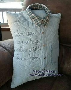 Quilted Memory Shirt Pillow - Marcia's Crafty Sewing and Quilting Memory Pillow From Shirt, Memory Pillows, Memory Quilts, Fabric Crafts, Sewing Crafts, Sewing Projects, Pillow Crafts, Memory Crafts, In Memory Gifts