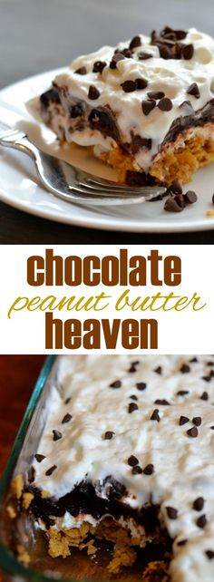 "This easy, no bake dessert truly tastes like heaven. Layers of peanut butter ""crunch,"" sweetened cream cheese, and dark chocolate pudding, topped with whipped topping and mini chocolate chips.:"