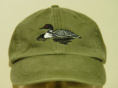 Embroidered Loon Bird Wildlife Hat by Price Embroidery and Apparel Embroidery On Clothes, Hat Embroidery, How To Wash Hats, Embroidered Hats, Periwinkle Blue, Cotton Twill Fabric, Couture, Gifts For Dad, Kaftan