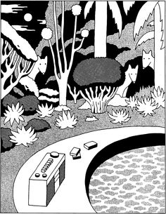 pon-chan:  monochrome illustration 5