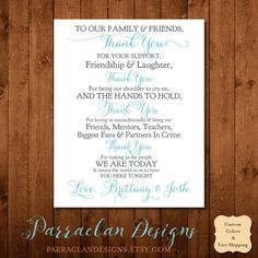 Our Wedding Thank You Signs are customized with your wedding colors so all your stationery matches! Thank your family and friends for everything