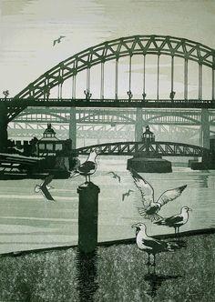 Tyne Bridges. Size 40 x 30cms.