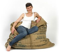 a coffee beanbag chair you say? brilliant recycling idea!