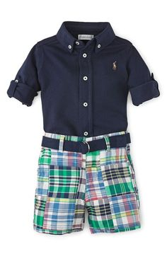 Ralph Lauren Woven Shirt & Plaid Shorts Set (Baby Boys) available at #Nordstrom