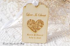 Wedding Favor Tags, Love is sweet, Engraved Wedding Wood Tag, Favors Tags Wedding, Rustic Gift Tag, SET OF 25