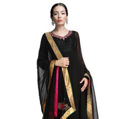 Black Faux Georgette Readymade Abaya Style Churidar Kameez