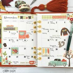 Monthly Planner Layout featuring the Happy Harvest Simple Set by design team member Vanessa Dugan