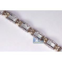 Mens Diamond Link Bracelet Two Tone Gold ct Bracelets For Men, Link Bracelets, Gents Bracelet, Two Tones, Lions, Diamond, Gold, Jewelry, Lion