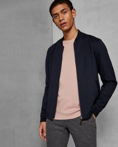 Jersey birdseye bomber jacket - Navy | Tops and T-shirts | Ted Baker UK