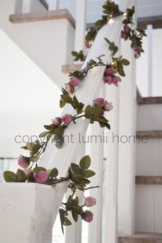 String light Pink and cream rose leaf garland Led by Lumiihome