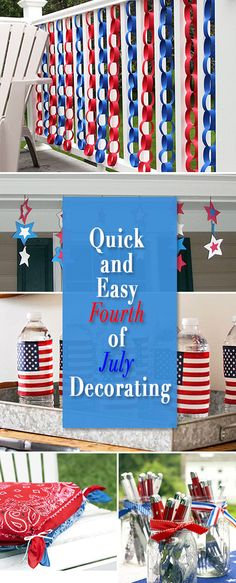 Make of July decorations! There was a day in our history when people actually spent time on Fourth of July decorating. Here are some excellent ideas to get you started with your patriotic decorations, and they take hardly any time at all! Fourth Of July Decor, 4th Of July Celebration, 4th Of July Decorations, 4th Of July Party, July 4th, 4th Of July Ideas, Memorial Day Decorations, Easy Decorations, Patriotic Party