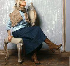 Купить Юбка Джинсовая с застёжкой - тёмно-синий, однотонный, деним, джинсовый стиль, джинсовая юбка