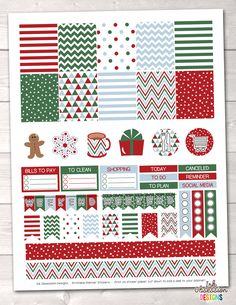 Christmas Red Green Blue Printable Planner Stickers Weekly Kit – Instant Download PDF for your Erin Condren Life Planner