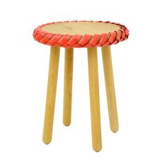 Braided Stool Red