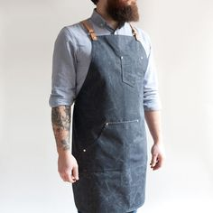 Maker's Apron with leather suspenders  NAVY waxed by HAMSTERco